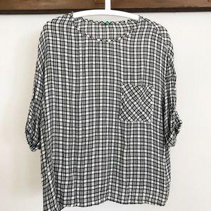 black & white plaid 3/4 sleeve shirt